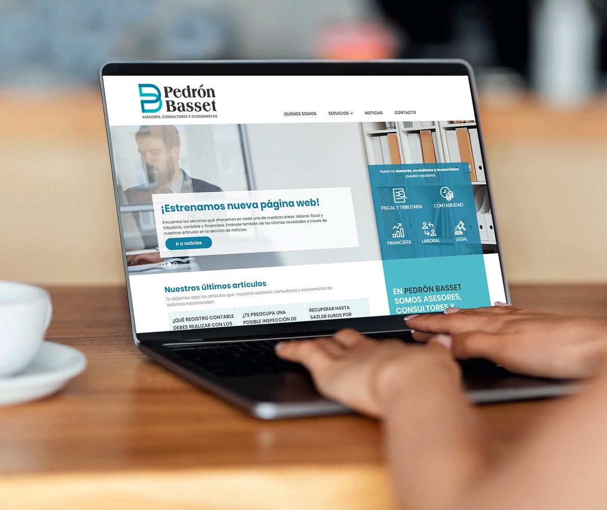 Diseño y programación de la página web para los asesores, economistas y consultores de Valencia Pedrón Basset